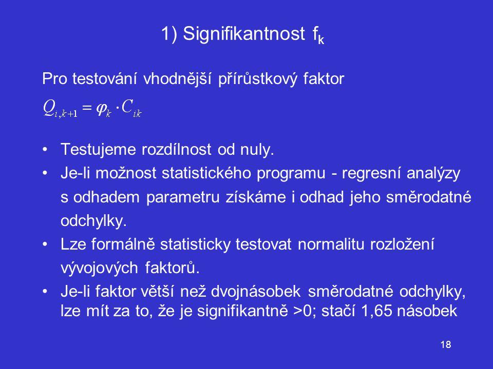 1) Signifikantnost fk Pro testování vhodnější přírůstkový faktor