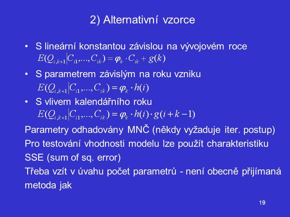 2) Alternativní vzorce S lineární konstantou závislou na vývojovém roce. S parametrem závislým na roku vzniku.