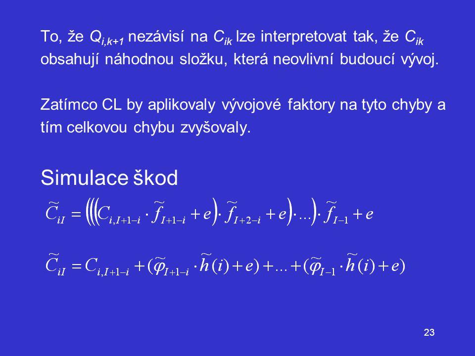 To, že Qi,k+1 nezávisí na Cik lze interpretovat tak, že Cik