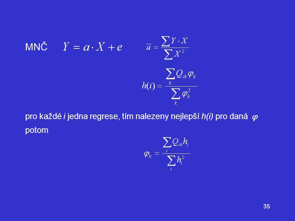 MNČ pro každé i jedna regrese, tím nalezeny nejlepší h(i) pro daná