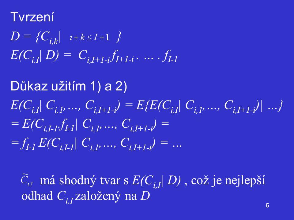 Tvrzení D = {Ci,k| } E(Ci,I| D) = Ci,I+1-i fI+1-i . … . fI-1. Důkaz užitím 1) a 2)