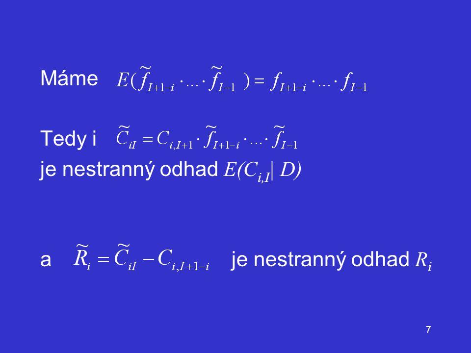 Máme Tedy i je nestranný odhad E(Ci,I| D) a je nestranný odhad Ri
