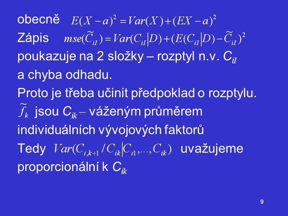 obecně Zápis. poukazuje na 2 složky – rozptyl n.v. CiI. a chyba odhadu. Proto je třeba učinit předpoklad o rozptylu.