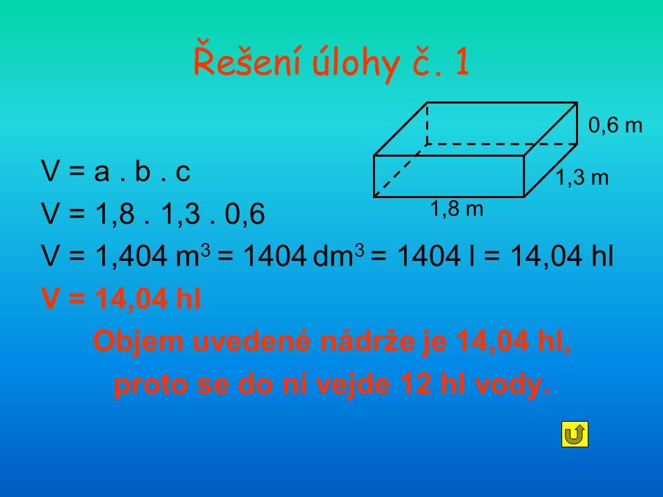 Objem uvedené nádrže je 14,04 hl, proto se do ní vejde 12 hl vody.