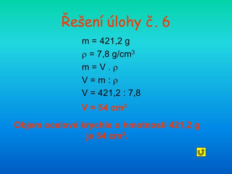 Objem ocelové krychle o hmotnosti 421,2 g je 54 cm3.