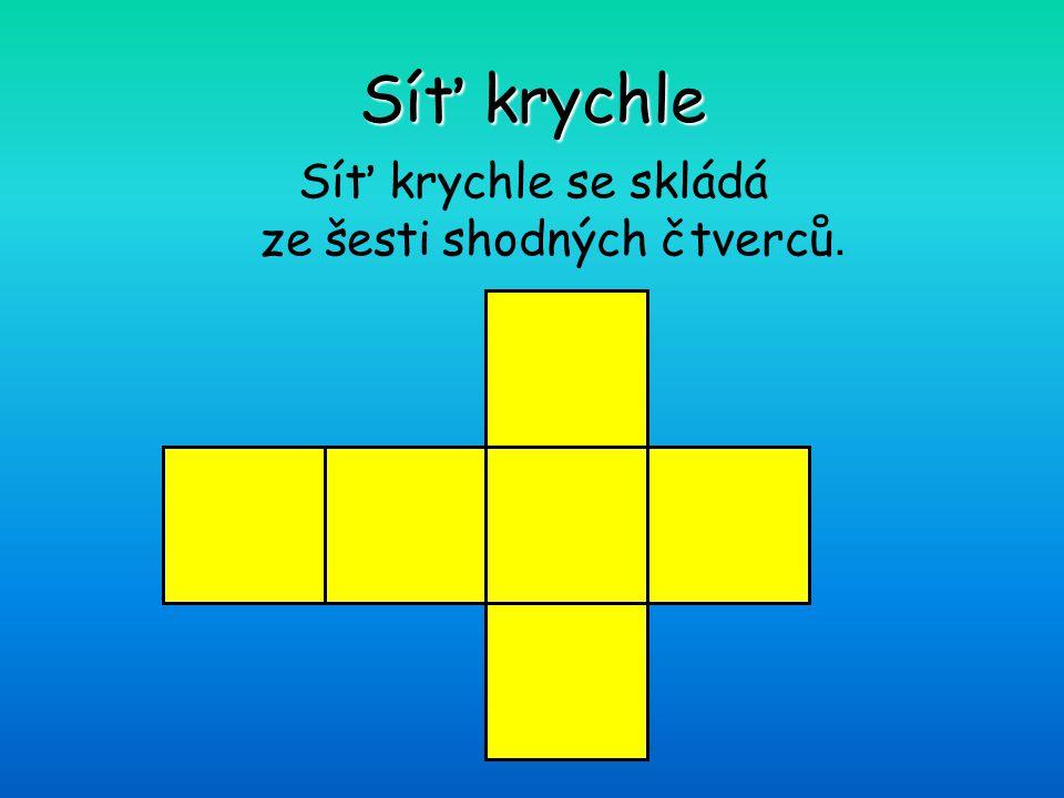Síť krychle se skládá ze šesti shodných čtverců.