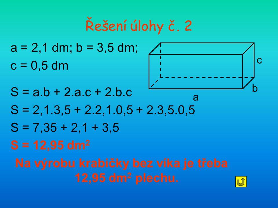 Na výrobu krabičky bez víka je třeba 12,95 dm2 plechu.