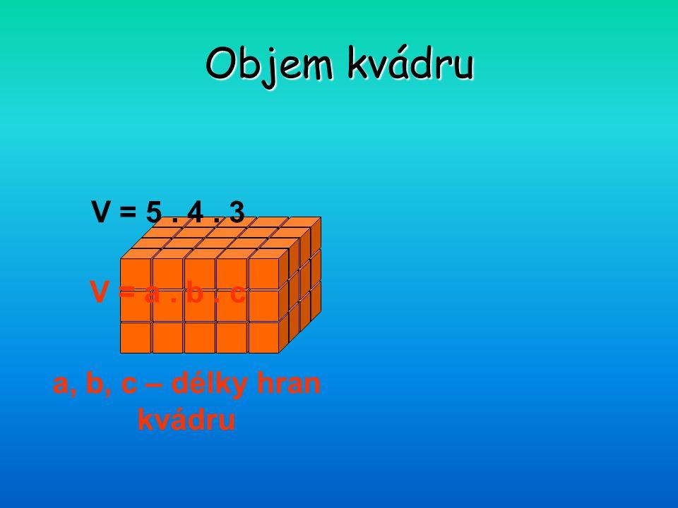 Objem kvádru V = 5 . 4 . 3 V = a . b . c a, b, c – délky hran kvádru