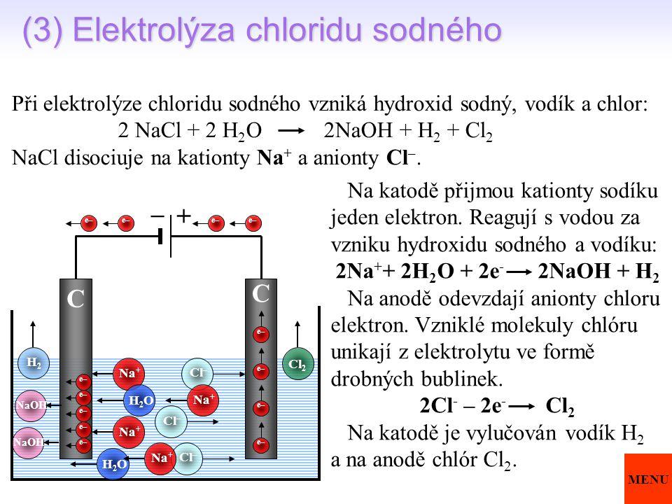 (3) Elektrolýza chloridu sodného