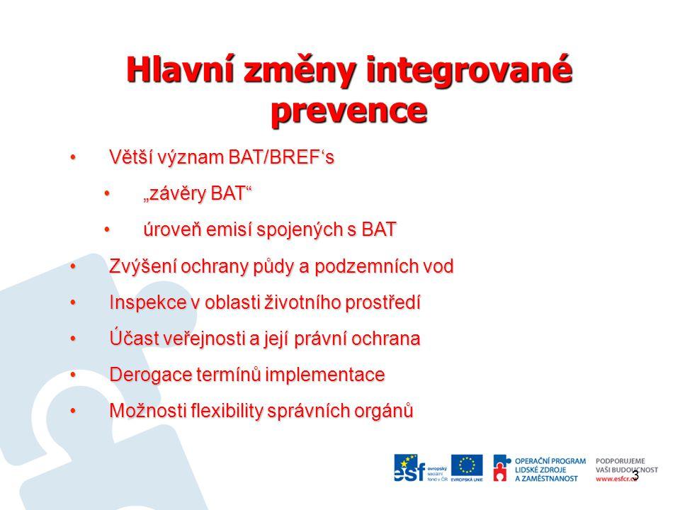 Hlavní změny integrované prevence