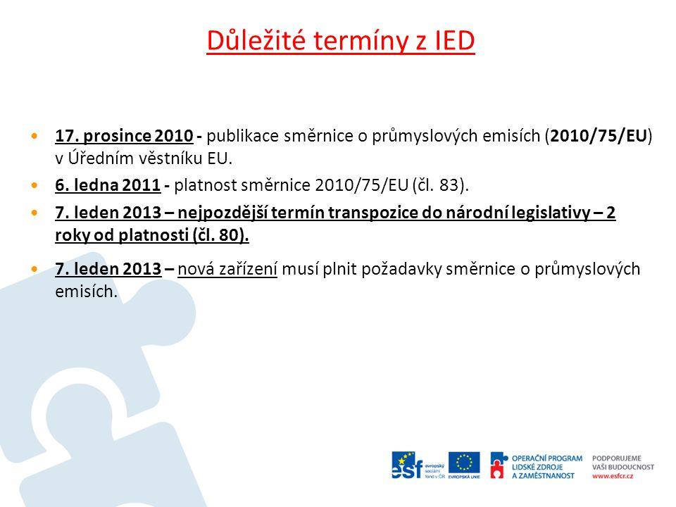 Důležité termíny z IED 17. prosince 2010 - publikace směrnice o průmyslových emisích (2010/75/EU) v Úředním věstníku EU.
