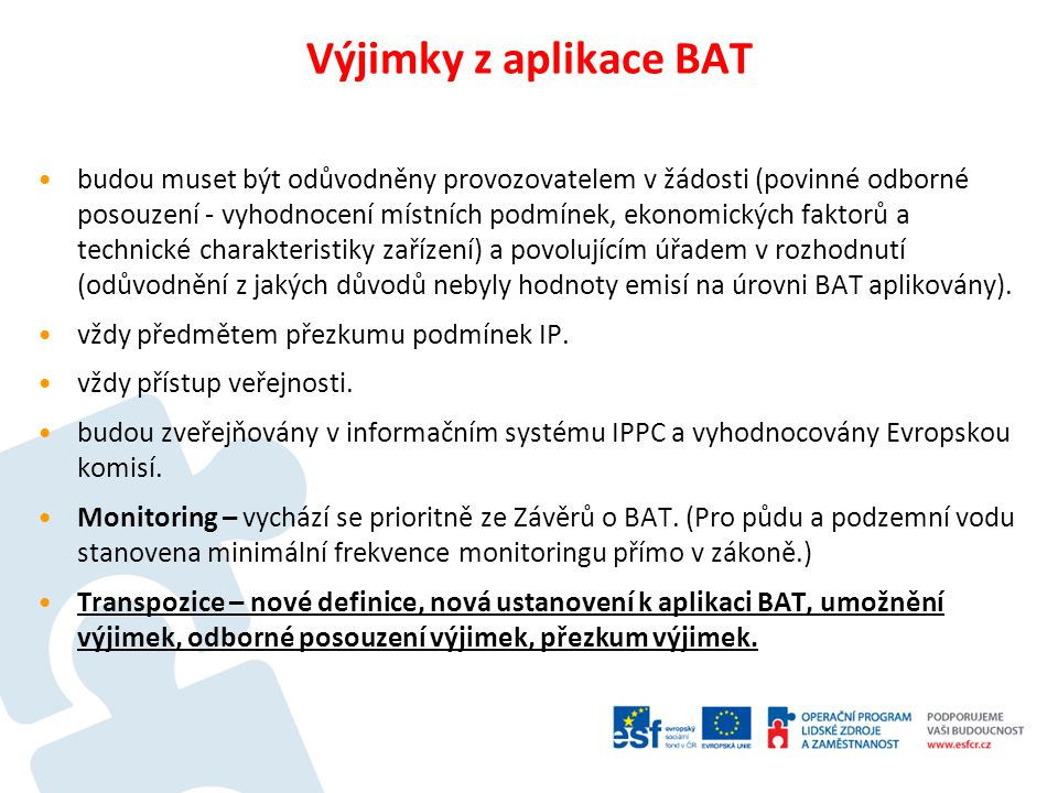 Výjimky z aplikace BAT