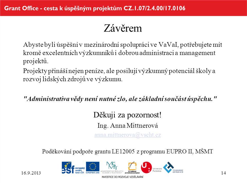 Poděkování podpoře grantu LE12005 z programu EUPRO II, MŠMT