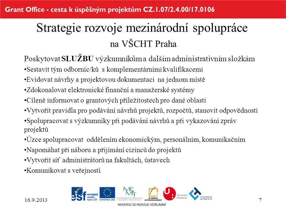 Strategie rozvoje mezinárodní spolupráce na VŠCHT Praha