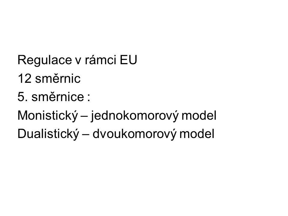 Regulace v rámci EU 12 směrnic. 5. směrnice : Monistický – jednokomorový model.