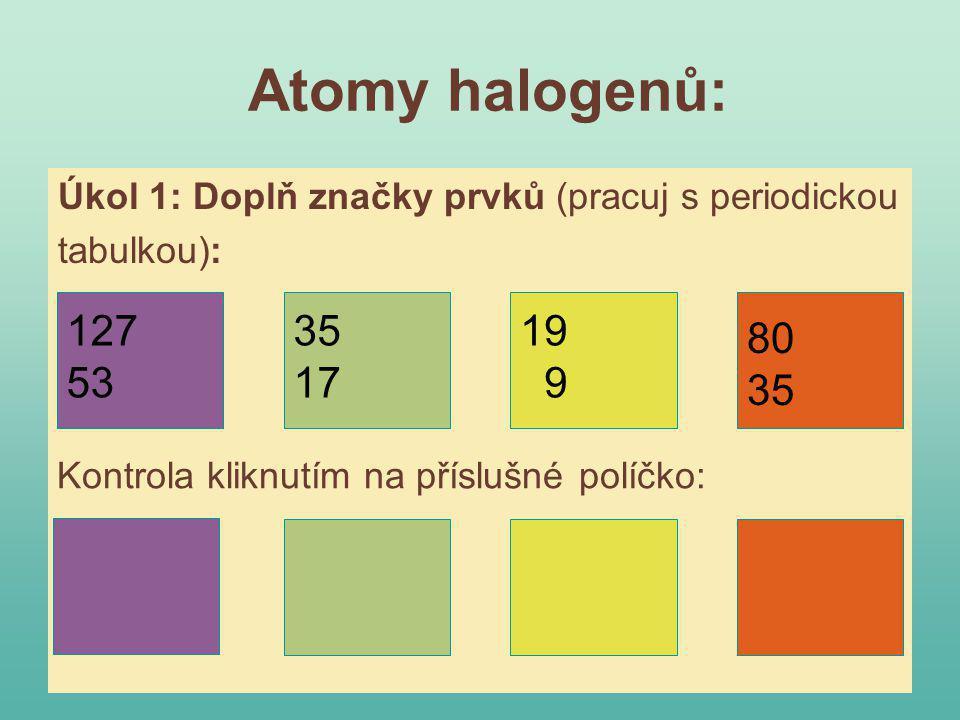 Cl F Br I Atomy halogenů: 127 53 35 17 19 9 80 35