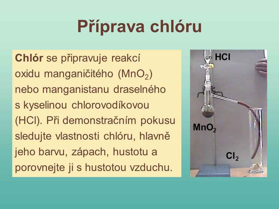 Příprava chlóru Chlór se připravuje reakcí oxidu manganičitého (MnO2)