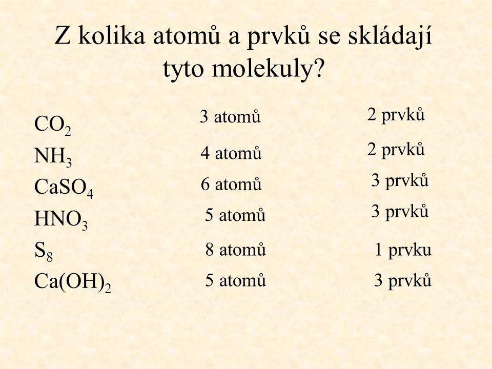Z kolika atomů a prvků se skládají tyto molekuly