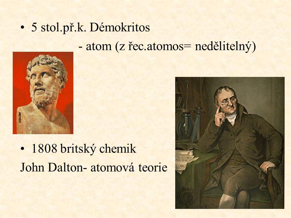 5 stol.př.k. Démokritos - atom (z řec.atomos= nedělitelný) 1808 britský chemik.