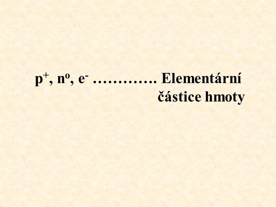 p+, no, e- …………. Elementární částice hmoty