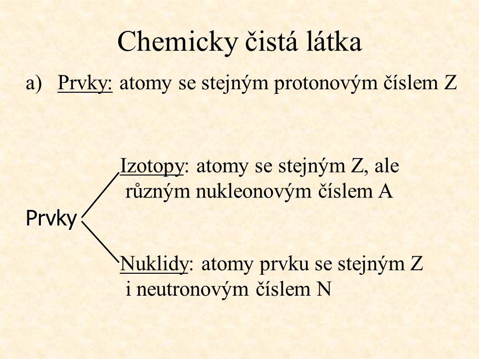 Chemicky čistá látka Prvky: atomy se stejným protonovým číslem Z