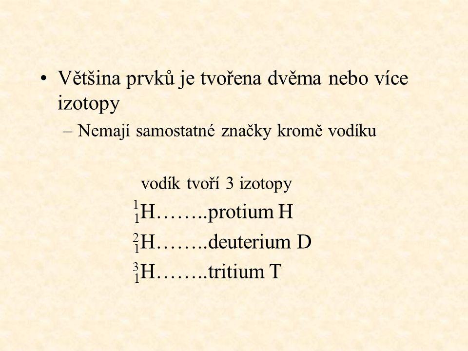 Většina prvků je tvořena dvěma nebo více izotopy