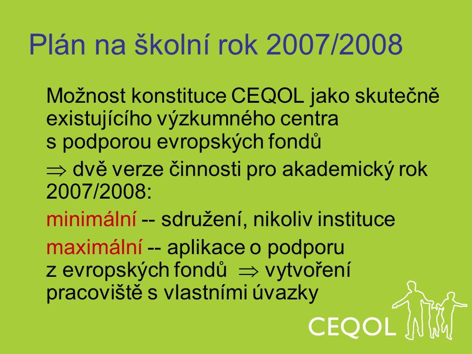 Plán na školní rok 2007/2008 Možnost konstituce CEQOL jako skutečně existujícího výzkumného centra s podporou evropských fondů.