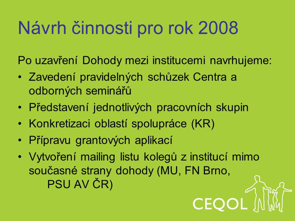 Návrh činnosti pro rok 2008 Po uzavření Dohody mezi institucemi navrhujeme: Zavedení pravidelných schůzek Centra a odborných seminářů.