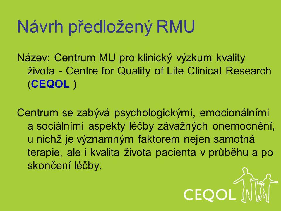 Návrh předložený RMU Název: Centrum MU pro klinický výzkum kvality života - Centre for Quality of Life Clinical Research (CEQOL )