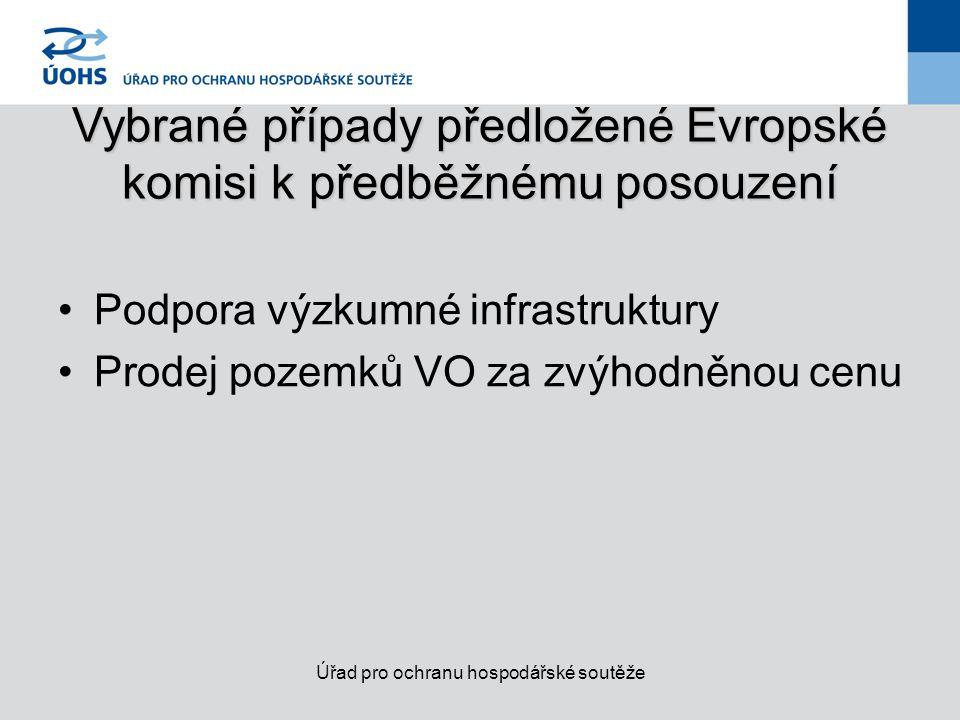 Vybrané případy předložené Evropské komisi k předběžnému posouzení