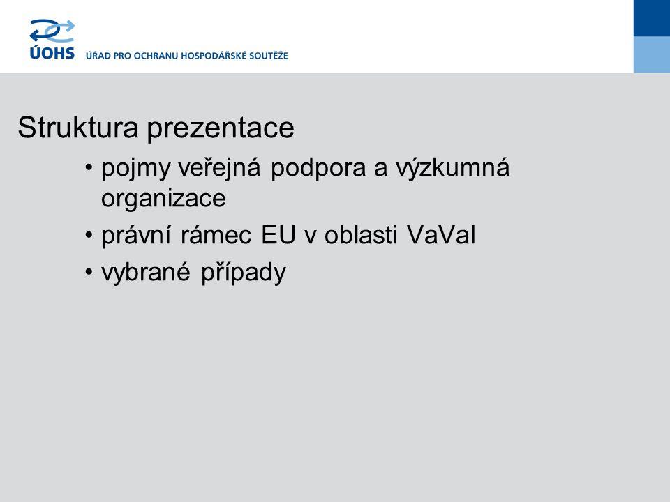 Struktura prezentace pojmy veřejná podpora a výzkumná organizace