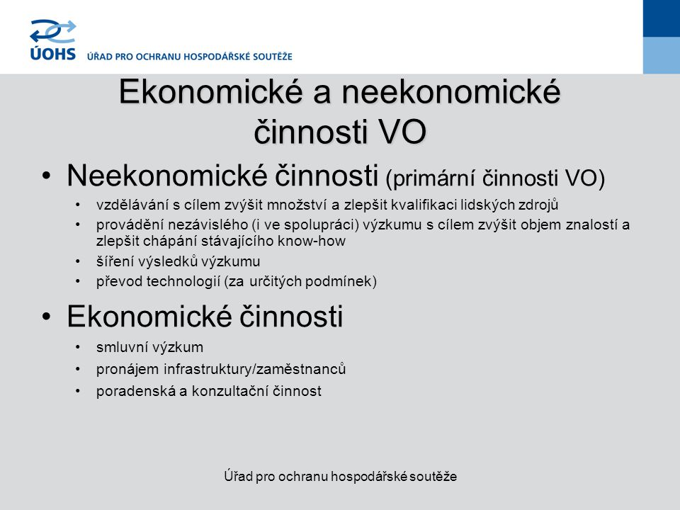 Ekonomické a neekonomické činnosti VO