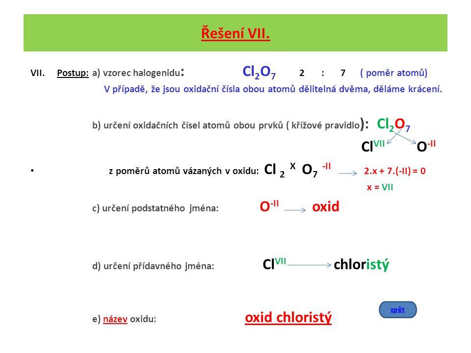 Řešení VII. Postup: a) vzorec halogenidu: Cl2O7 2 : 7 ( poměr atomů)