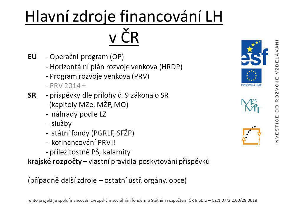 Hlavní zdroje financování LH v ČR
