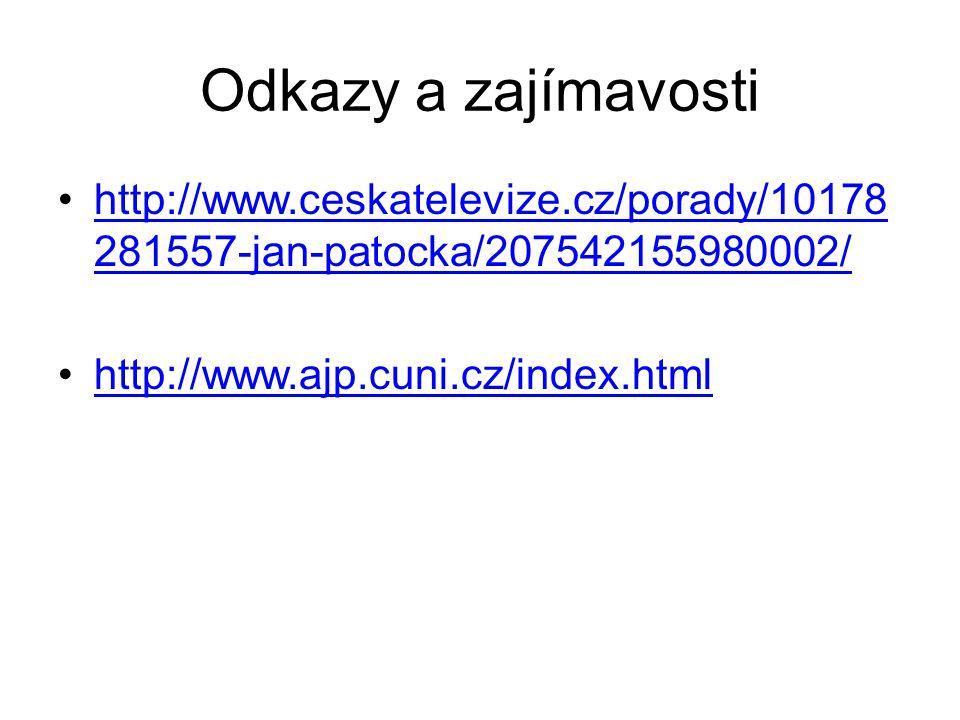 Odkazy a zajímavosti http://www.ceskatelevize.cz/porady/10178281557-jan-patocka/207542155980002/ http://www.ajp.cuni.cz/index.html.