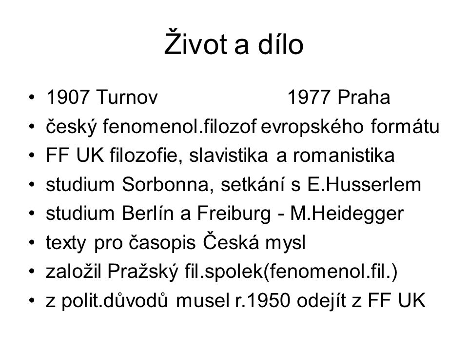 Život a dílo 1907 Turnov 1977 Praha