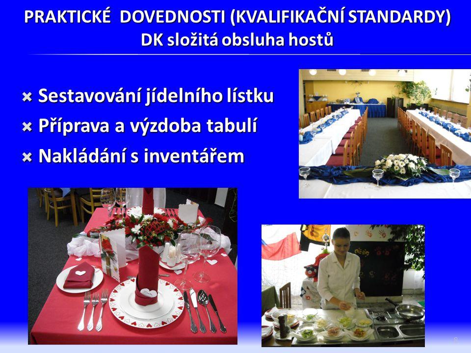 PRAKTICKÉ DOVEDNOSTI (KVALIFIKAČNÍ STANDARDY) DK složitá obsluha hostů