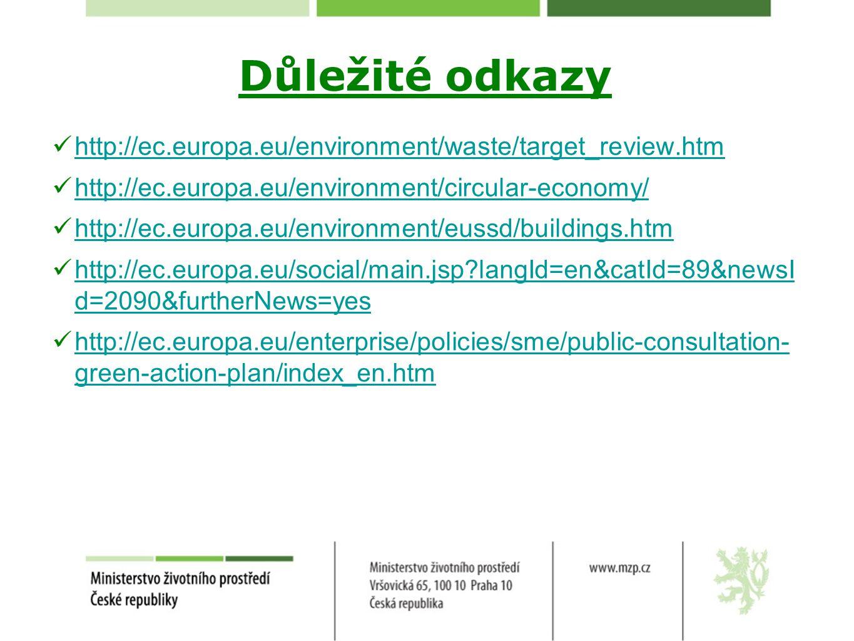 Důležité odkazy http://ec.europa.eu/environment/waste/target_review.htm. http://ec.europa.eu/environment/circular-economy/