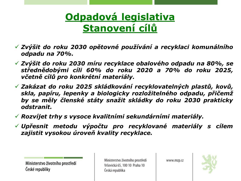 Odpadová legislativa Stanovení cílů