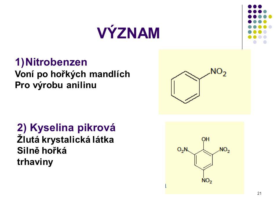 VÝZNAM Nitrobenzen 2) Kyselina pikrová Voní po hořkých mandlích