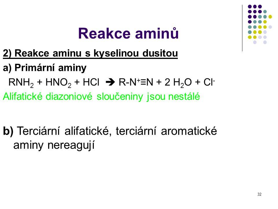 Reakce aminů 2) Reakce aminu s kyselinou dusitou. a) Primární aminy. RNH2 + HNO2 + HCl  R-N+≡N + 2 H2O + Cl-