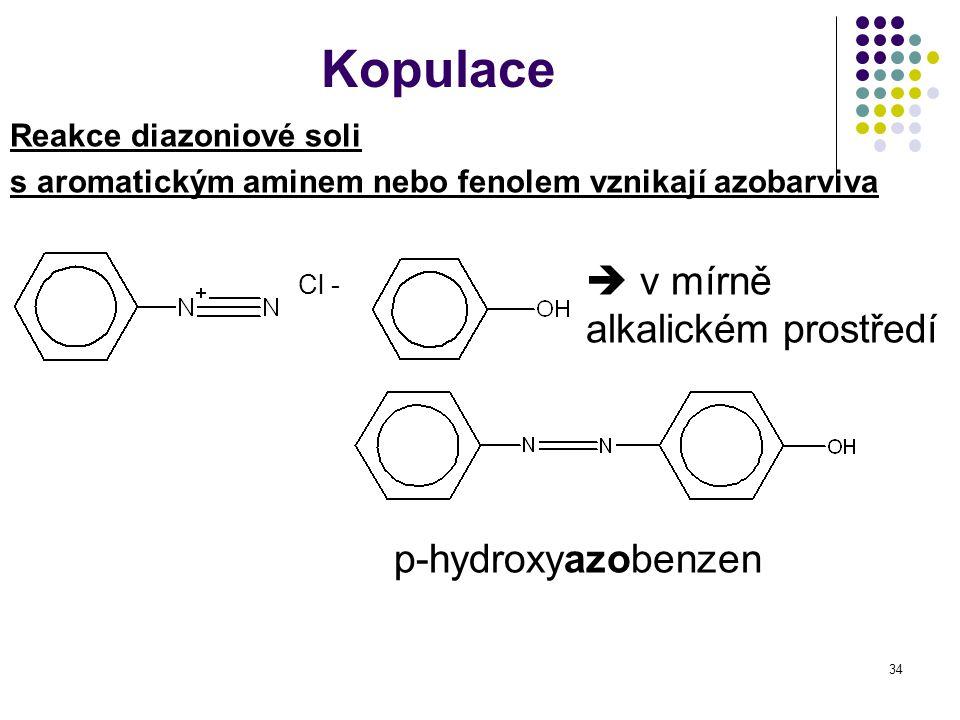 Kopulace Cl -  v mírně alkalickém prostředí p-hydroxyazobenzen