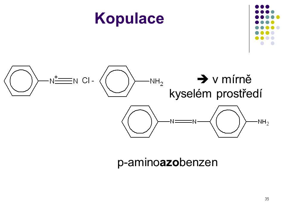 Kopulace Cl -  v mírně kyselém prostředí p-aminoazobenzen