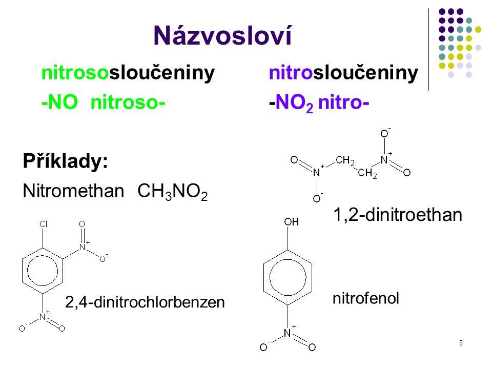 Názvosloví nitrososloučeniny nitrosloučeniny -NO nitroso- -NO2 nitro-