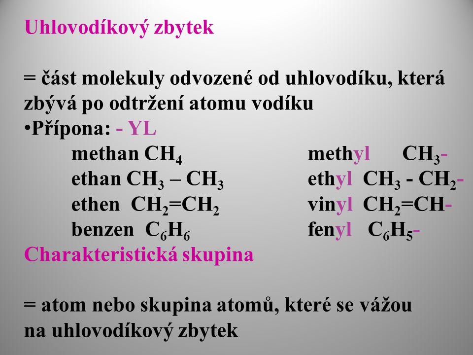 Uhlovodíkový zbytek = část molekuly odvozené od uhlovodíku, která. zbývá po odtržení atomu vodíku.