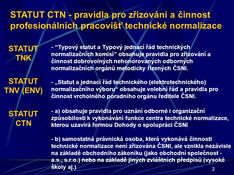 STATUT CTN - pravidla pro zřizování a činnost profesionálních pracovišť technické normalizace