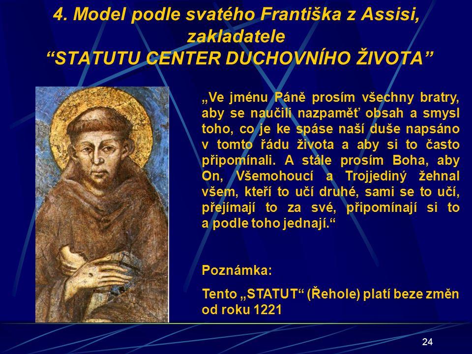4. Model podle svatého Františka z Assisi, zakladatele STATUTU CENTER DUCHOVNÍHO ŽIVOTA
