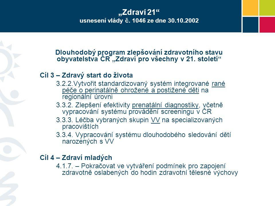 """""""Zdraví 21 usnesení vlády č. 1046 ze dne 30.10.2002"""