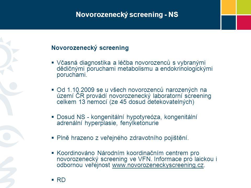 Novorozenecký screening - NS