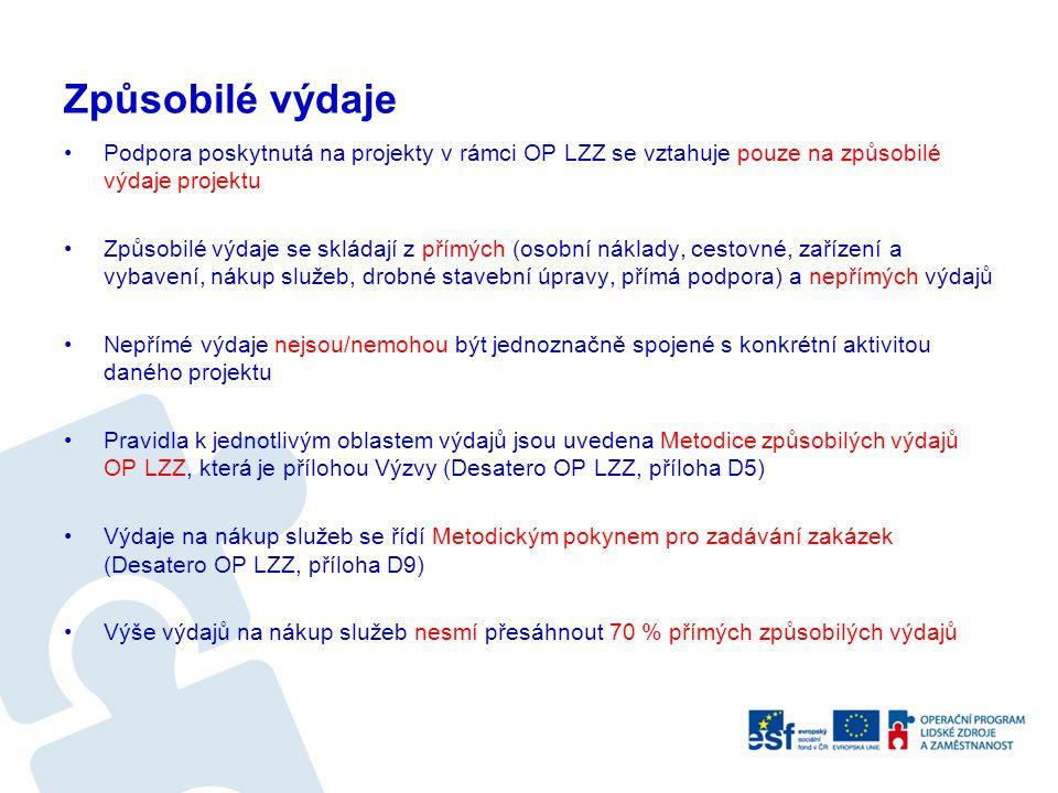 Způsobilé výdaje Podpora poskytnutá na projekty v rámci OP LZZ se vztahuje pouze na způsobilé výdaje projektu.